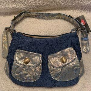 Shiny blue shoulder bag